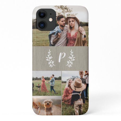 Rustic laurel monogram multi photo phone case