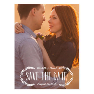 Rustic Laurel | Photo Save the Date Postcard