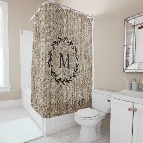 Rustic Laurel Wreath Farmhouse Style Burlap Shower Curtain
