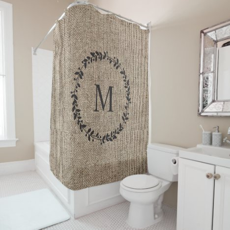 Rustic Laurel Wreath Farmhouse Style Monogrammed Shower Curtain