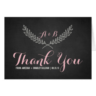 Rustic Laurel Wreath Monogram Thank You Card