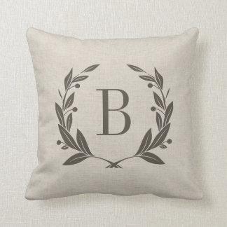 Rustic Laurel Wreath Monogram Throw Pillow
