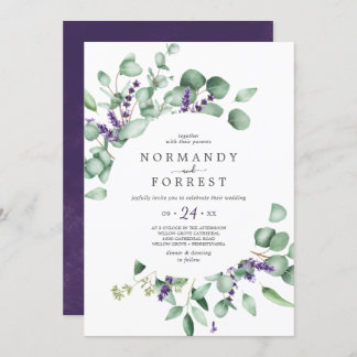 Rustic Lavender and Eucalyptus Casual Wedding Invitation