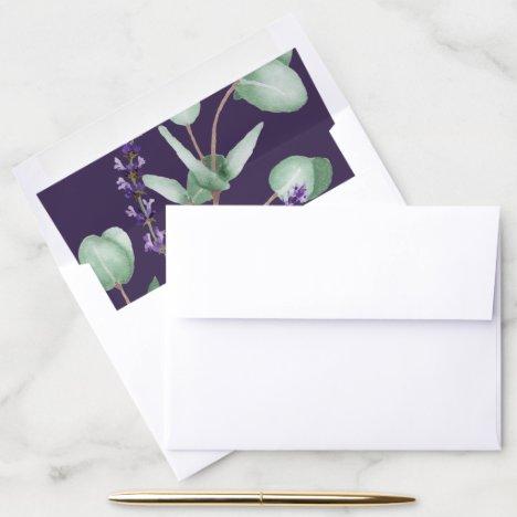 Rustic Lavender and Eucalyptus | Purple Wedding Envelope Liner