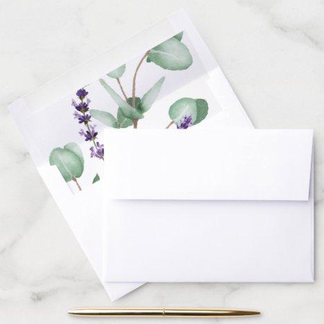 Rustic Lavender and Eucalyptus Wedding Envelope Liner