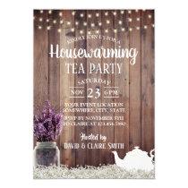 Rustic Lavender Floral Housewarming Tea Party Invitation