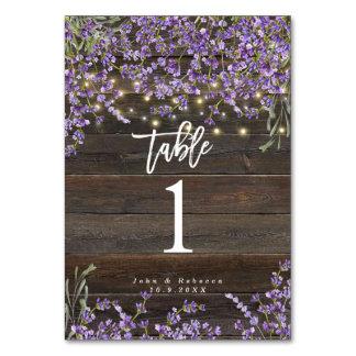 rustic lavender lights wedding table number card