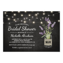 Rustic Lavender Mason Jar Lights Bridal Shower Card
