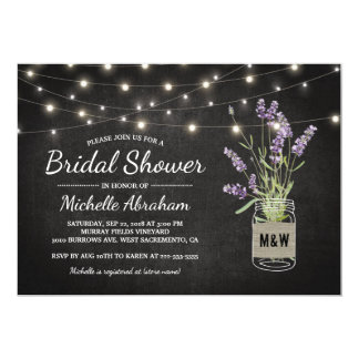 Rustic Lavender Mason Jar Lights Bridal Shower Card