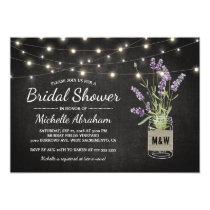 Rustic Lavender Mason Jar Lights Bridal Shower Invitation