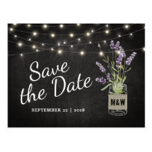 Rustic Lavender Mason Jar Lights Save the Date Postcard