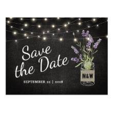 Rustic Lavender Mason Jar Lights Save the Date Postcard