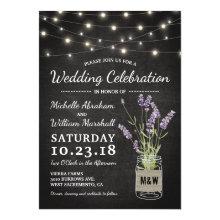 Rustic Lavender Mason Jar Lights Wedding Invitations