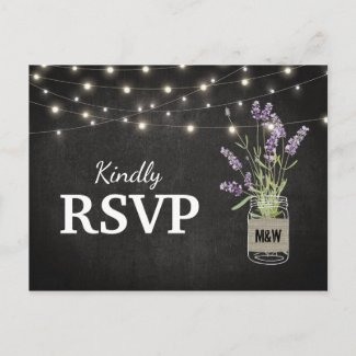 Rustic Lavender Mason Jar Lights Wedding RSVP Invitation Postcard