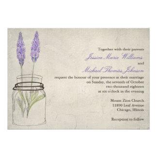 Rustic Lavender Mason Jar | Wedding Personalized Invite