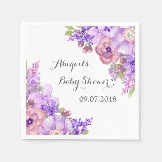Rustic Lavender Purple Floral Baby Shower Napkins