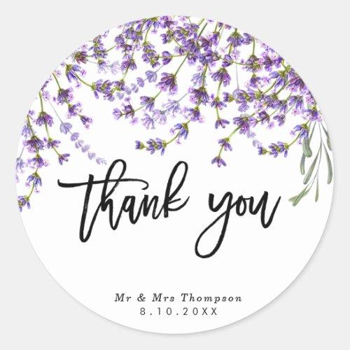 rustic lavender wedding thank you sticker