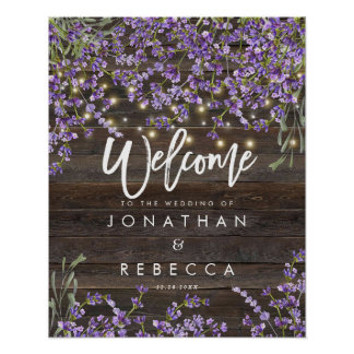rustic lavender wedding welcome sign poster