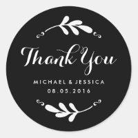 Rustic Leaf Black White Wedding Thank You Sticker