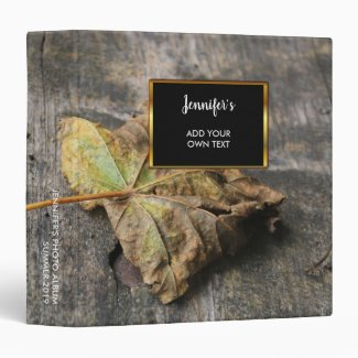 Rustic leaf on wood country personalized 3 ring binder