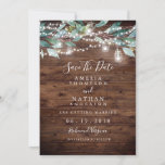 """Rustic Leaf String Lights Save The Date<br><div class=""""desc"""">More pretty rustic Invitations in the Little Bayleigh Store!</div>"""