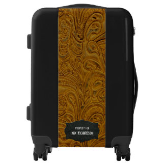 Rustic Leather Look Personalized Brown Black Luggage