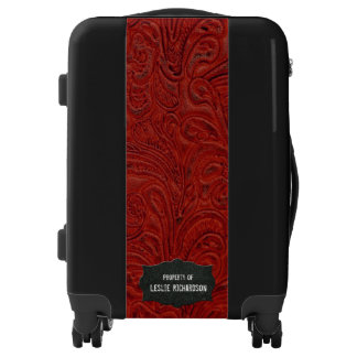 Rustic Leather Look Personalized Red Black Luggage