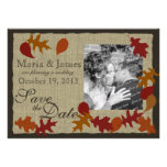 Rustic Leaves and Burlap Save the Date Invites