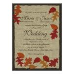 Rustic Leaves and Burlap Wedding Invitation