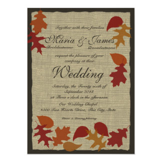Rustic Leaves and Burlap Wedding 5.5x7.5 Paper Invitation Card