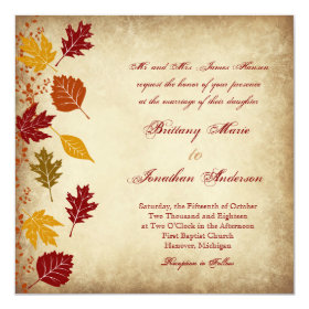 Rustic Leaves Autumn Fall Wedding Invitations 5.25