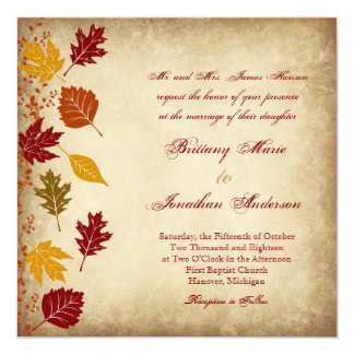 Rustic Leaves Autumn Fall Wedding Invitations