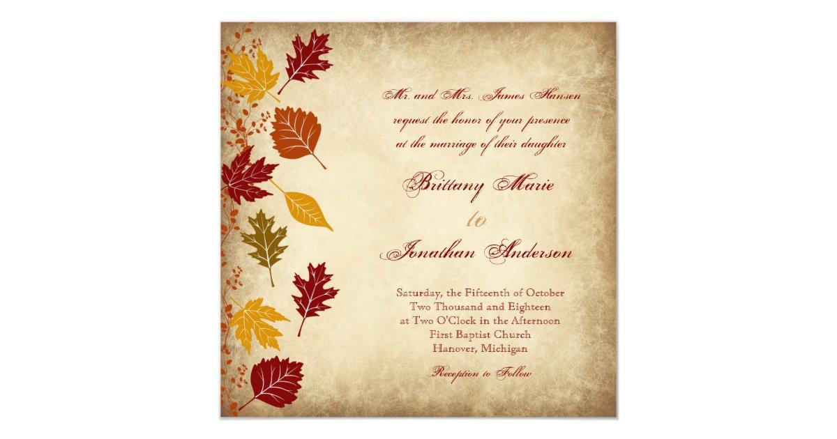Rustic Leaves Autumn Fall Wedding Invitations