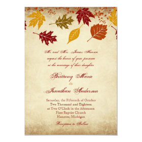 Rustic Leaves Autumn Fall Wedding Invitations 4.5