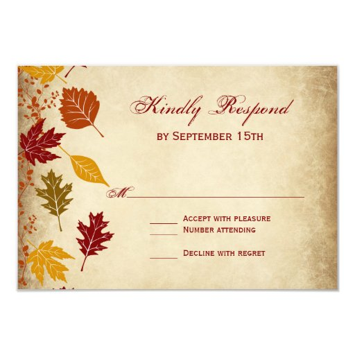 Rustic Leaves Autumn Fall Wedding RSVP Cards | Zazzle