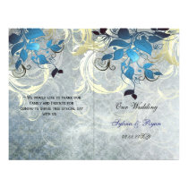 Rustic leaves blue winter  bi fold Wedding program