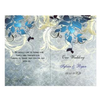 Rustic leaves blue winter  bi fold Wedding program
