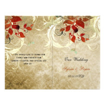 Rustic leaves fall  bi fold Wedding program