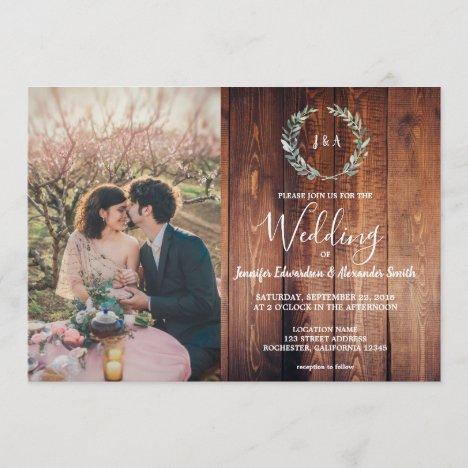 Rustic leaves on barn wood monogram photo Wedding Invitation