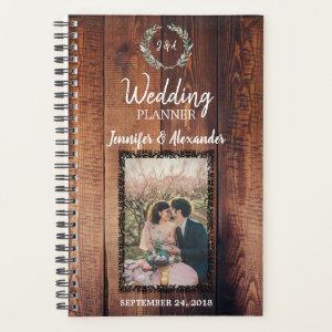 Rustic leaves on barn wood monogram photo Wedding Planner