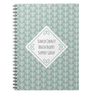 Rustic Leaves on Blue-Green Support Group Notebook