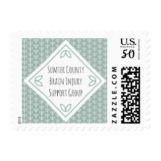 Rustic Leaves on Blue-Green Support Group Postage