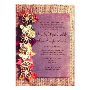 Rustic Leaves Purple Fall Wedding Invitations