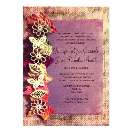 Rustic Leaves Purple Fall Wedding Invitations 45 X 625 Invitation Card