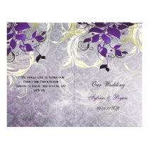 Rustic leaves purple winter  Wedding program