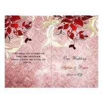 Rustic leaves red winter  bi fold Wedding program