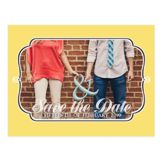 Rustic Lemon Yellow Save the Date Photo Postcard