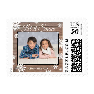 Rustic Let it Snow - Postage Stamp