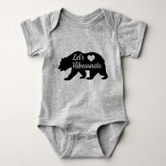 Rustic Let's Hibearnate Black Bear Silhouette Baby Bodysuit