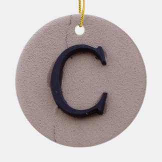 Rustic Letter C Ceramic Ornament